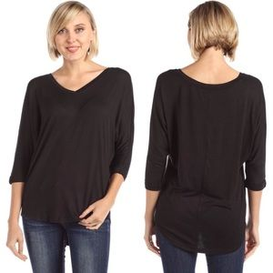 Tops - 3/4 Sleeve High Low V Neck Jersey Soft Top Black L